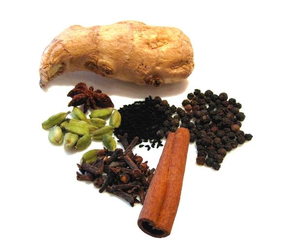 Die Zutaten für einen klassischen Masala Chai (ohne Olivenblätter).