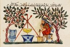 Ein arabischer Arzt bereitet ein Elixier zu - kolorierte Zeichnung aus dem 13. Jahrhundert