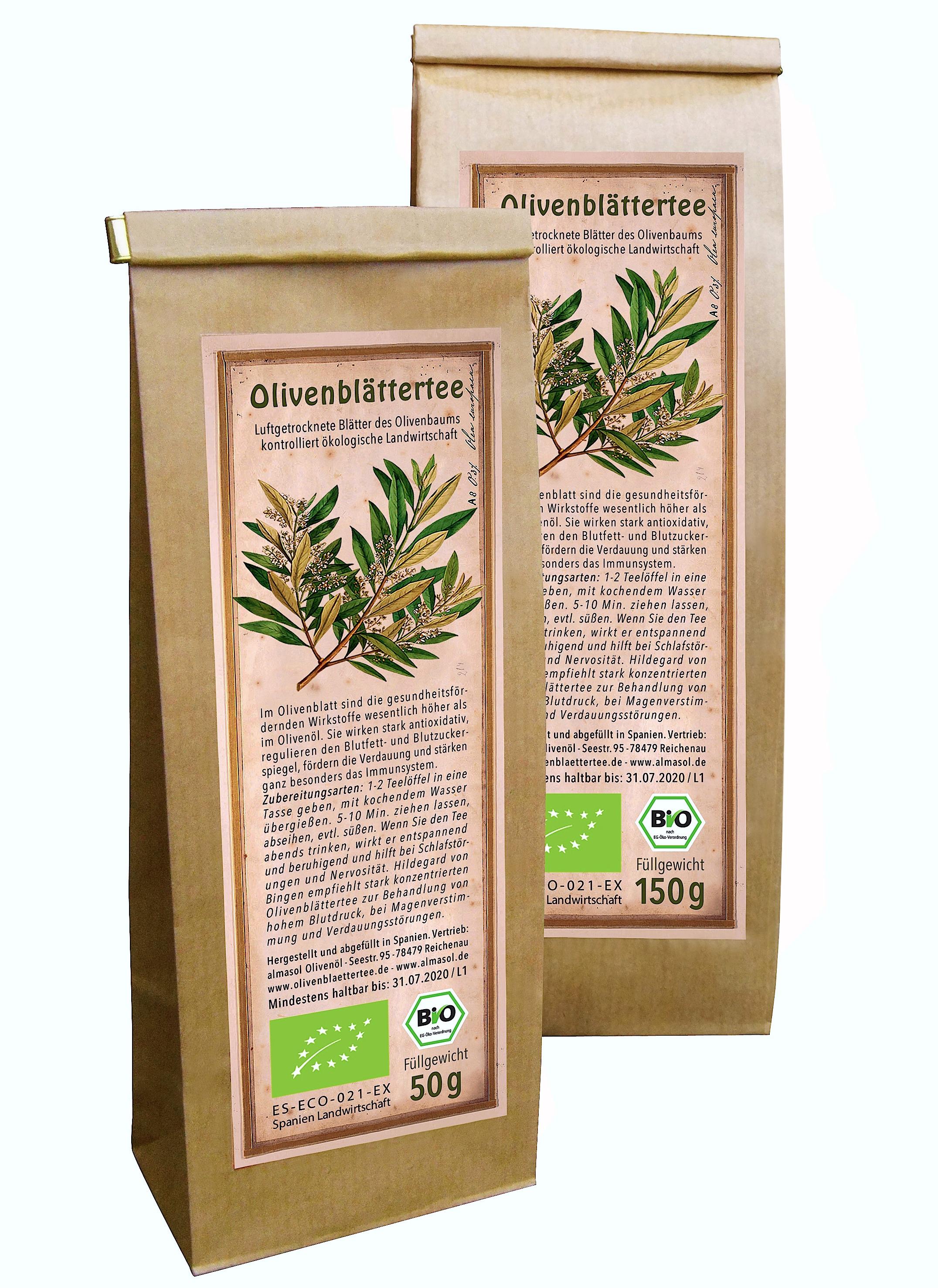 Produktfoto der arve Bio Olivenblaettertee 50 Gramm und 150 Gramm Tüte.